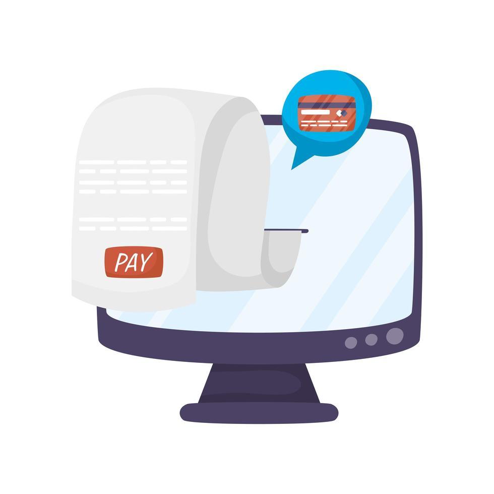 desktop com tecnologia de comércio eletrônico de recibo vetor