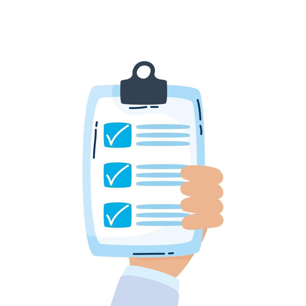 lista de verificação ícone de documento isolado de área de transferência vetor