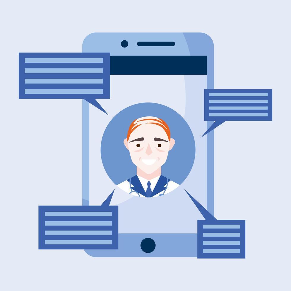 médico masculino online em smartphone com desenho vetorial de bolhas vetor