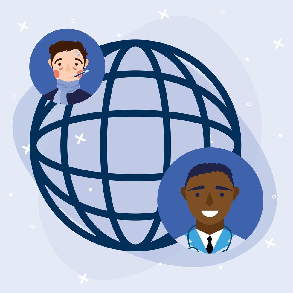 médico masculino online e homem doente com design de vetor de esfera global