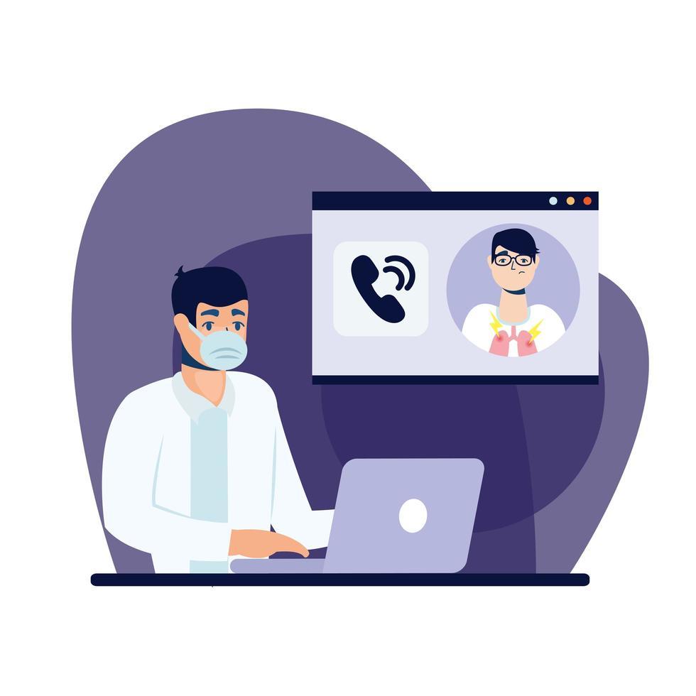 médico masculino online com máscara e desenho vetorial de laptop vetor