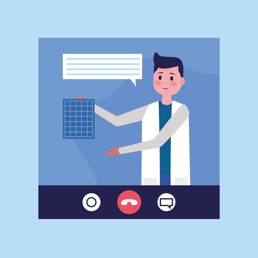 médico masculino online em bate-papo por vídeo com design de vetor de bolha