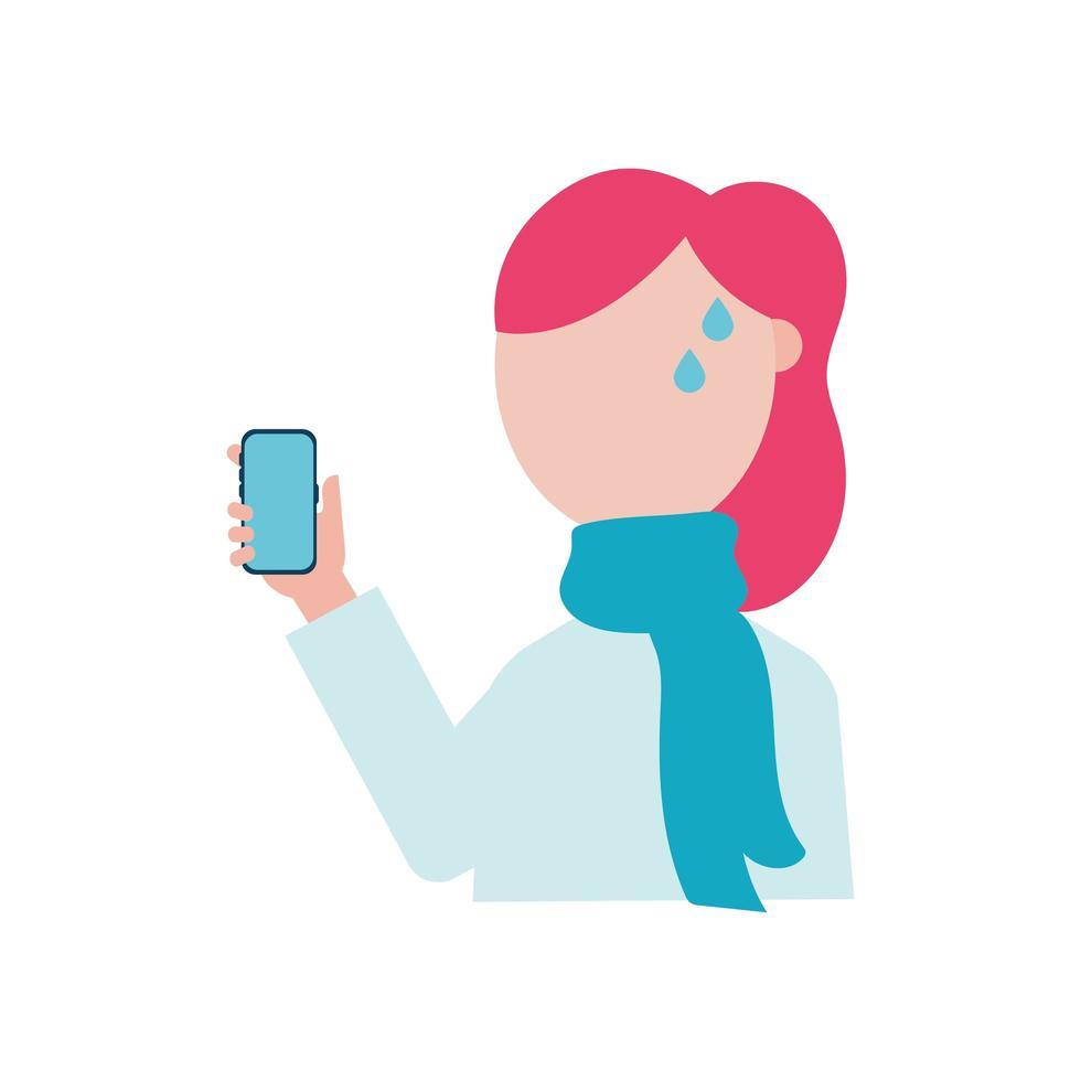 mulher com febre e desenho vetorial de smartphone vetor