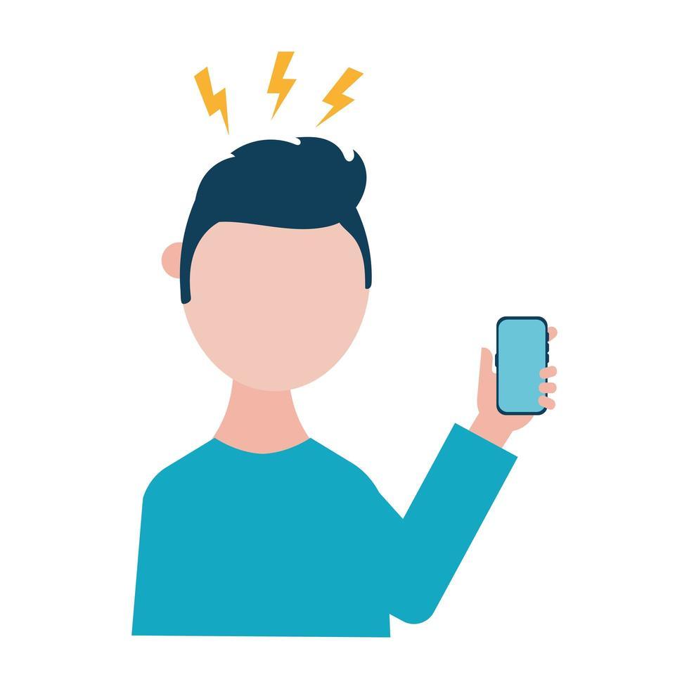homem com dor de cabeça e desenho vetorial de smartphone vetor