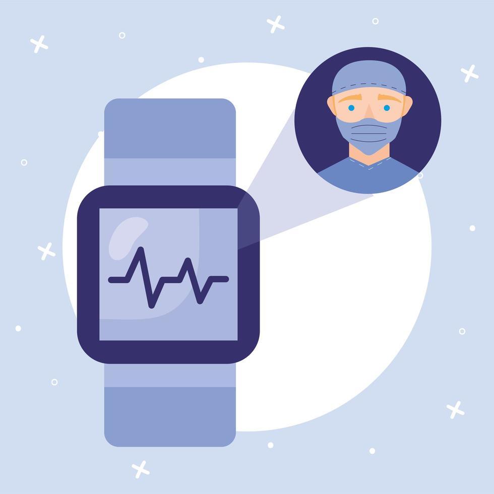 médico masculino online com máscara e desenho vetorial de smartwatch vetor