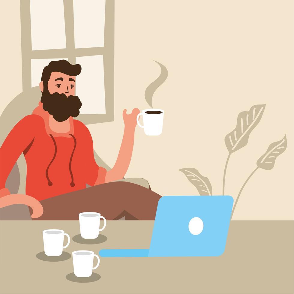 homem usando laptop fica em casa campanha vetor