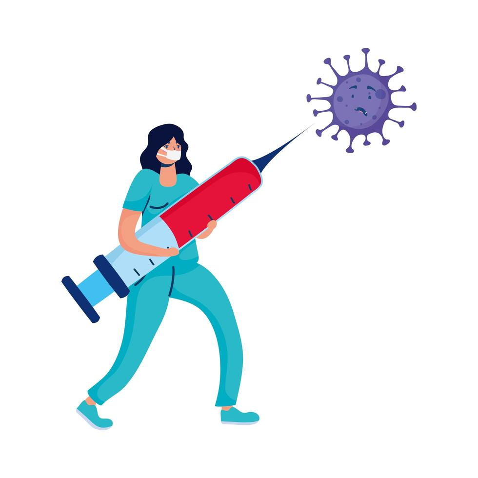 médica com injeção e partícula covid19 vetor