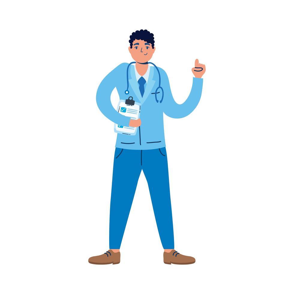 médico profissional com estetoscópio e lista de verificação vetor