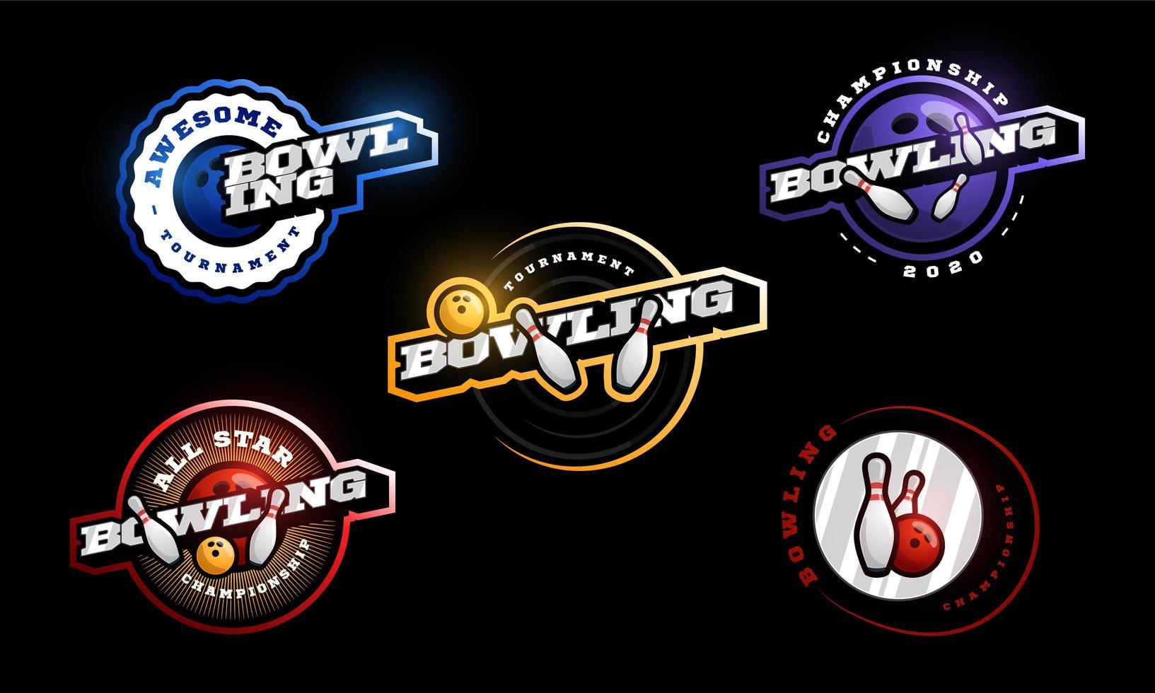 conjunto de logotipo de vetor de boliche