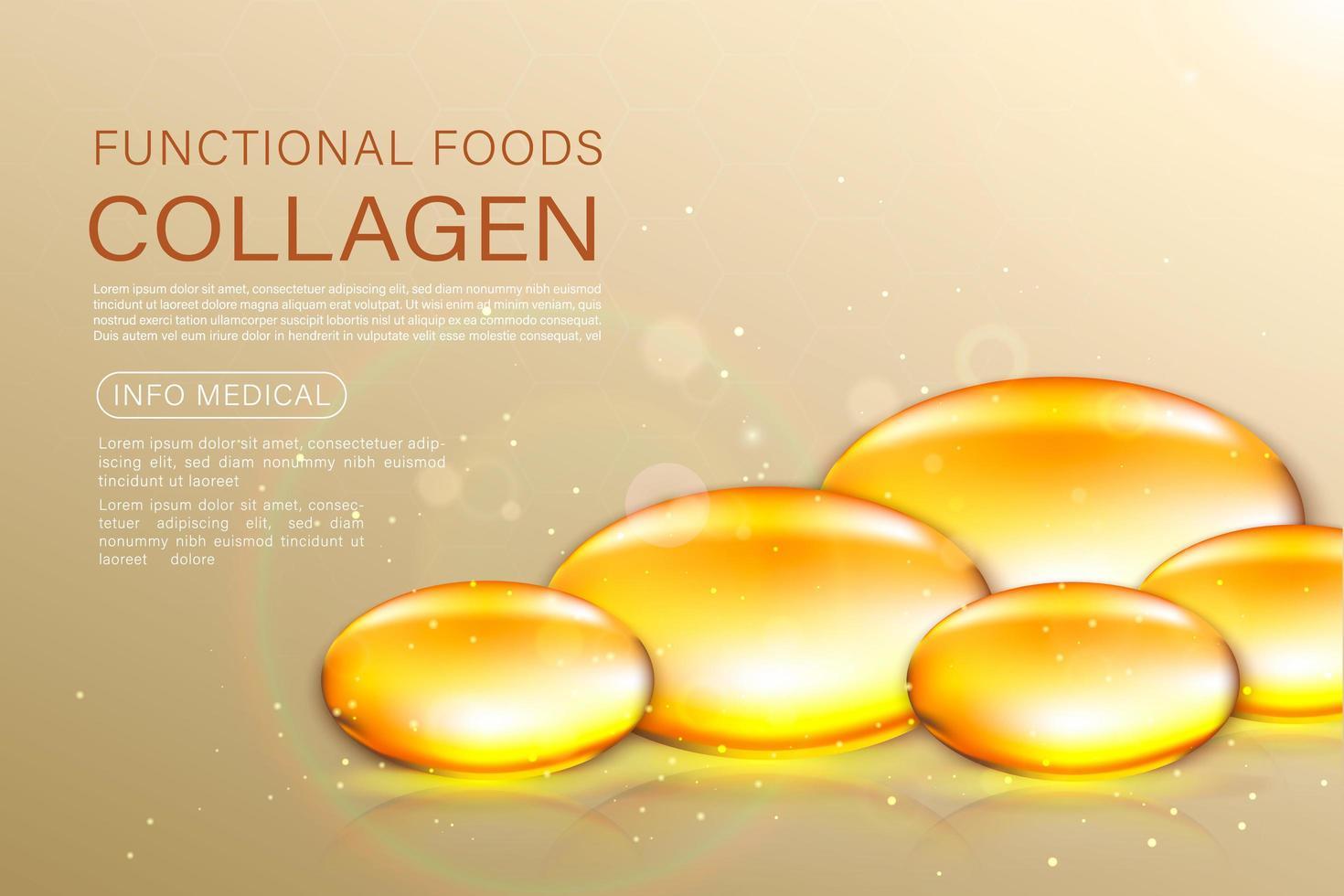 solução de tratamento anti-envelhecimento para máscara facial ouro pérola. Bolhas de óleo de ouro de 24 quilates no fundo precioso. vetor