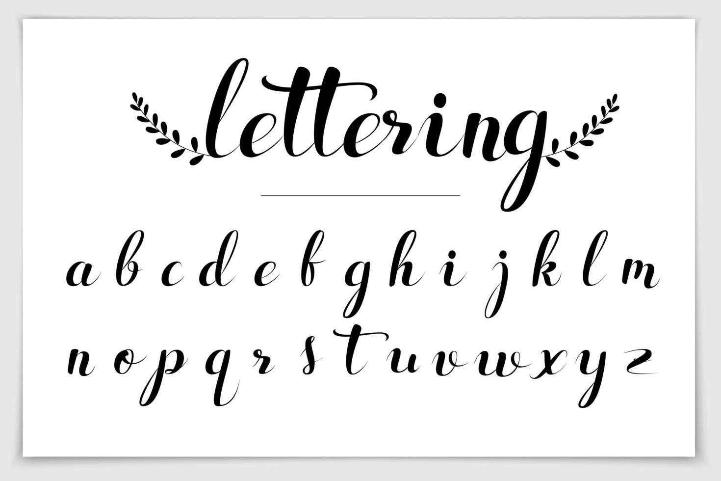mão desenhada alfabeto escrito com caneta pincel. vetor