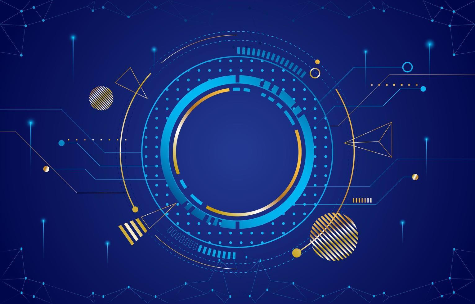círculo digital com cor azul e ouro vetor