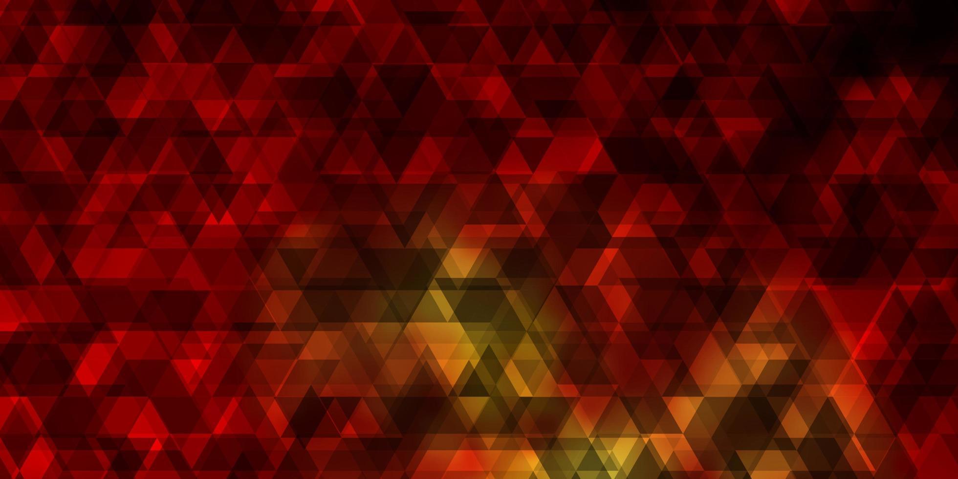 pano de fundo laranja escuro do vetor com linhas, triângulos.
