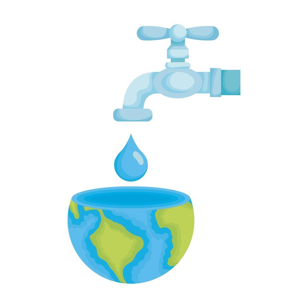 mundo planeta terra com torneira de água aberta vetor