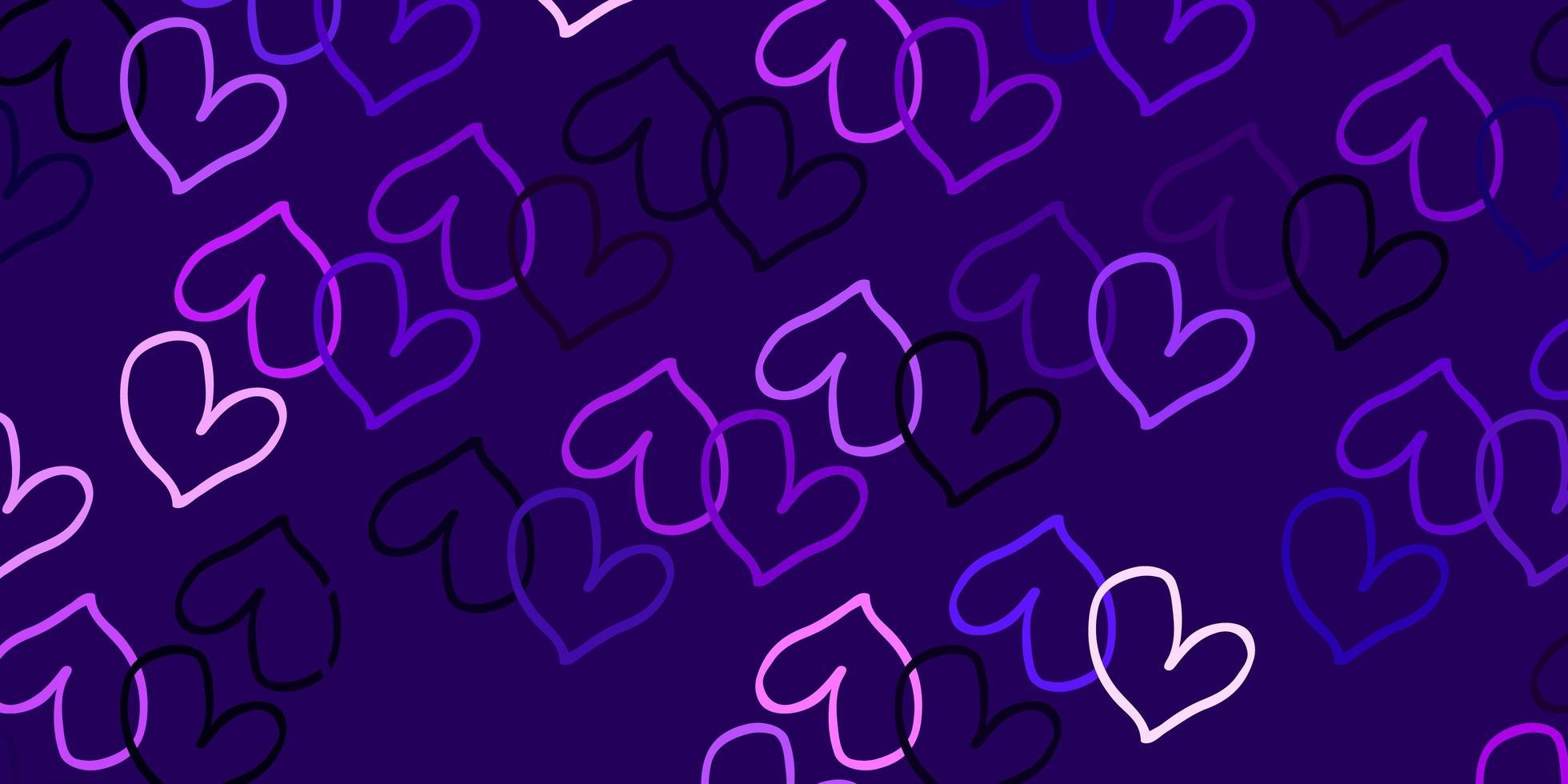 modelo de vetor rosa claro roxo com corações de doodle.