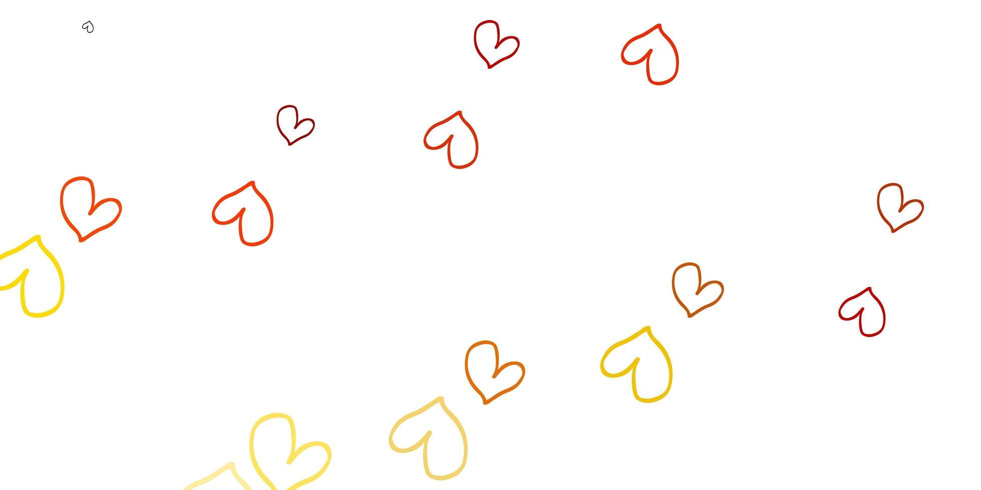padrão de vetor laranja claro com corações coloridos.