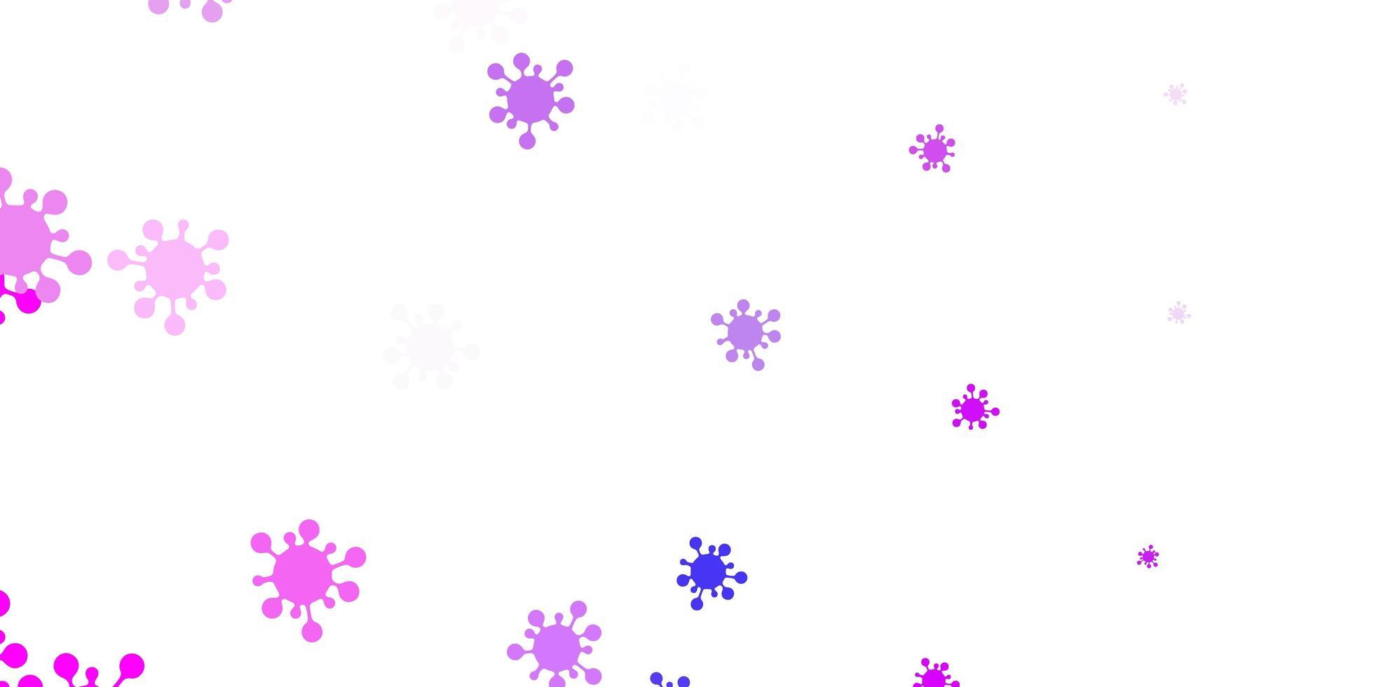 padrão de vetor rosa claro, azul com elementos de coronavírus.