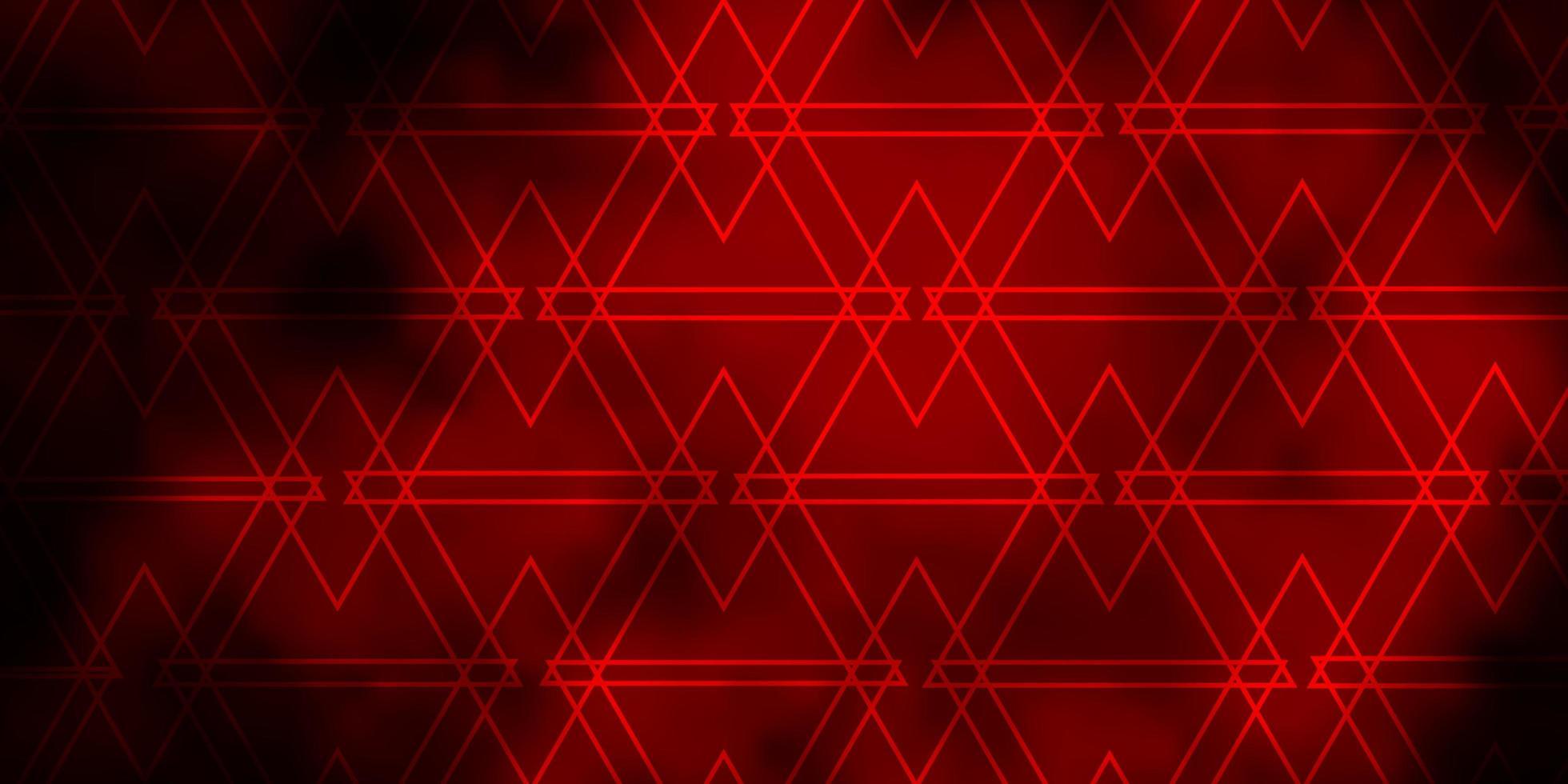 layout de vetor vermelho escuro com linhas, triângulos.