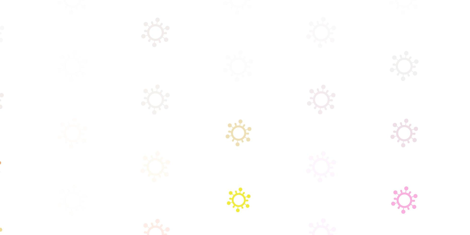 fundo vector rosa claro, amarelo com símbolos covid-19.