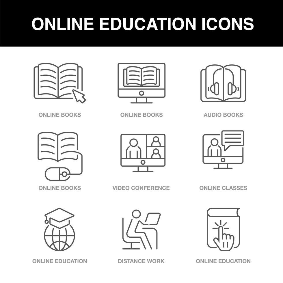 ícones de educação online definidos com um traço editável vetor