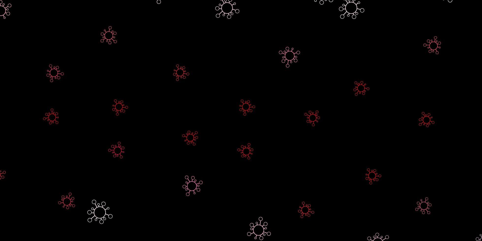 padrão de vetor vermelho escuro com elementos de coronavírus