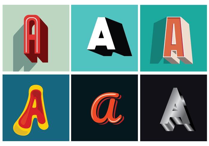 Letra A Tipografia 3D vetor