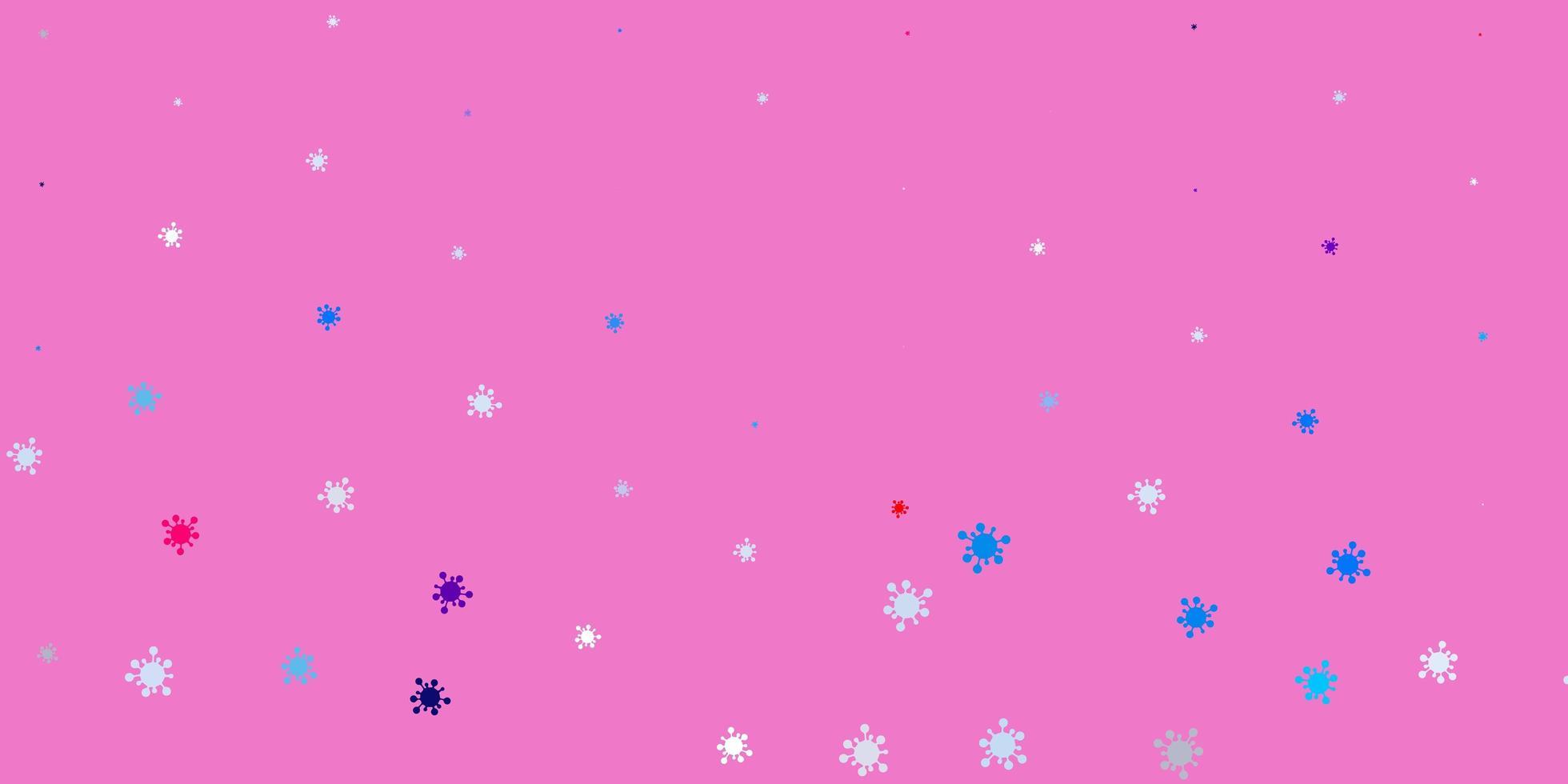fundo vector azul claro e vermelho com símbolos covid-19