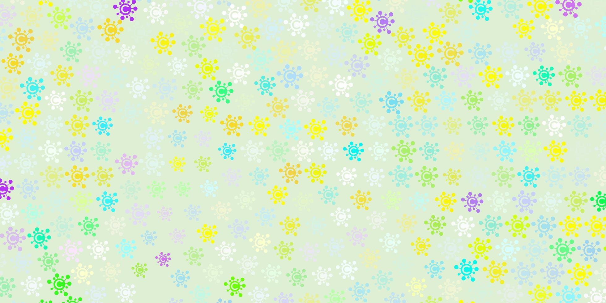 fundo claro multicolorido com símbolos covid-19 vetor