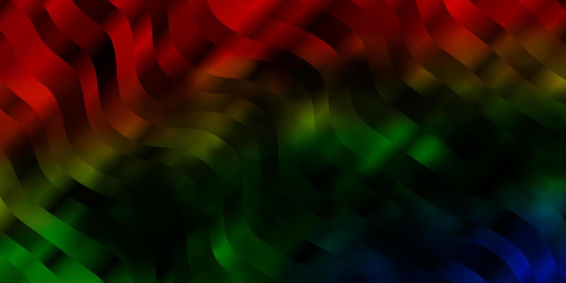 pano de fundo escuro do vetor multicolor com curvas.