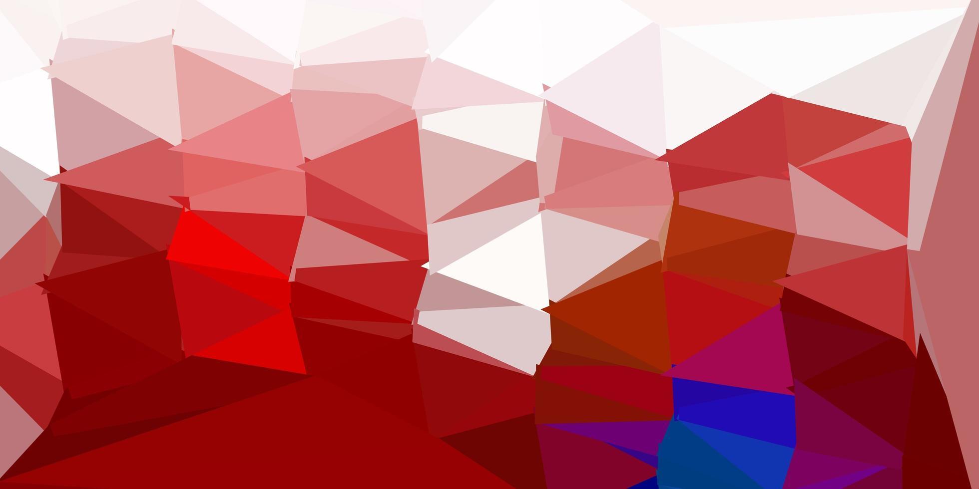 fundo do mosaico do triângulo do vetor azul escuro e vermelho.