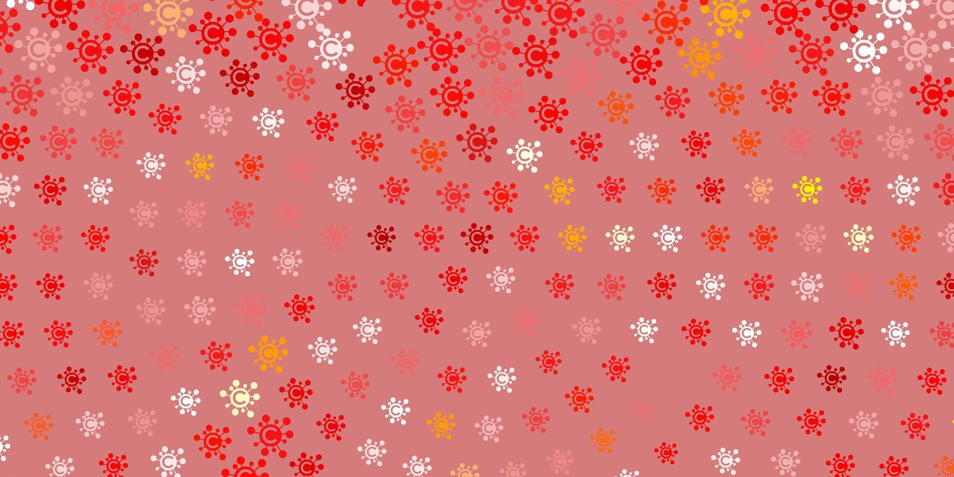 fundo vector vermelho claro e amarelo com símbolos covid-19