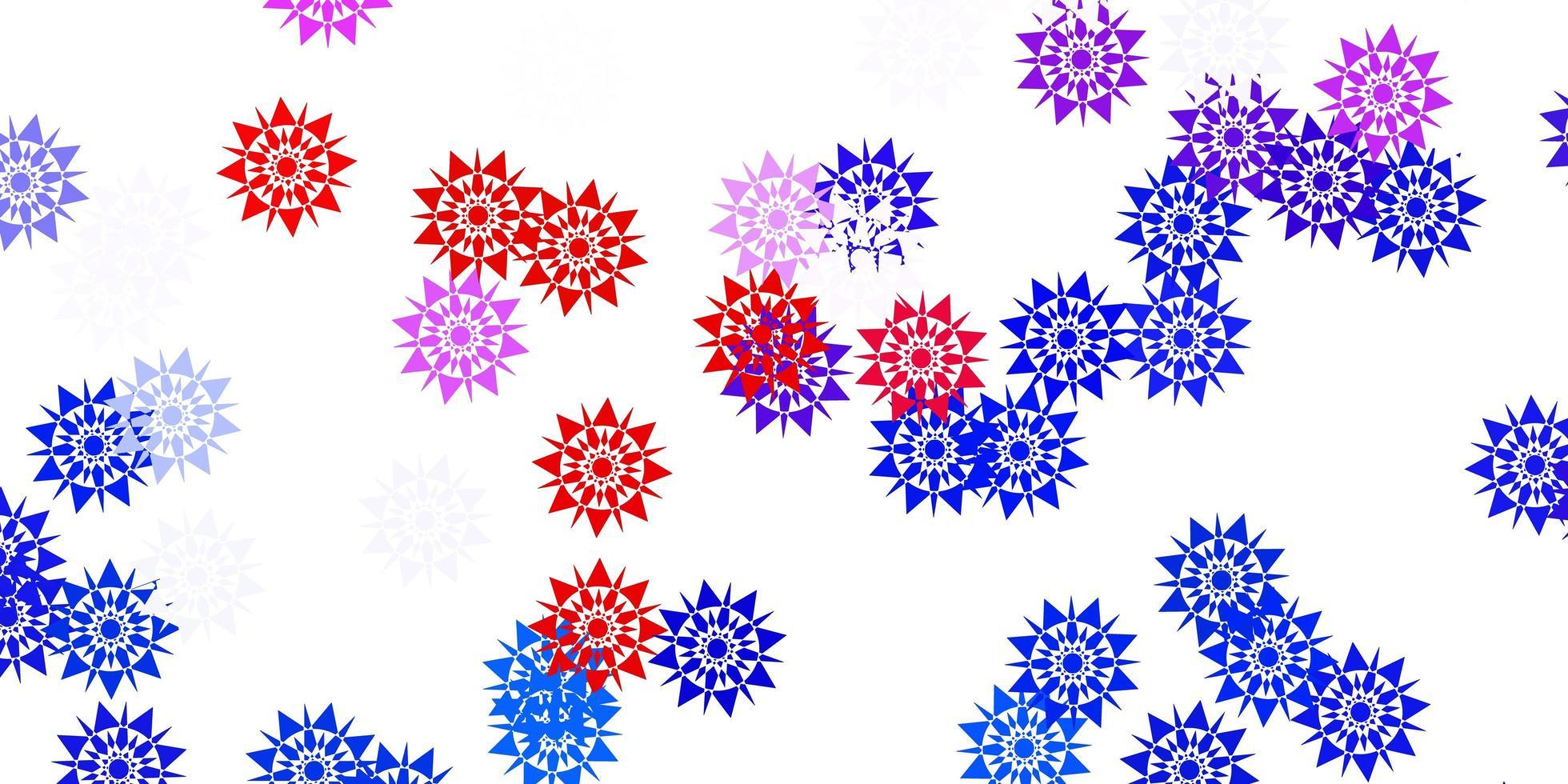 textura vector azul e vermelho claro com flocos de neve brilhantes.