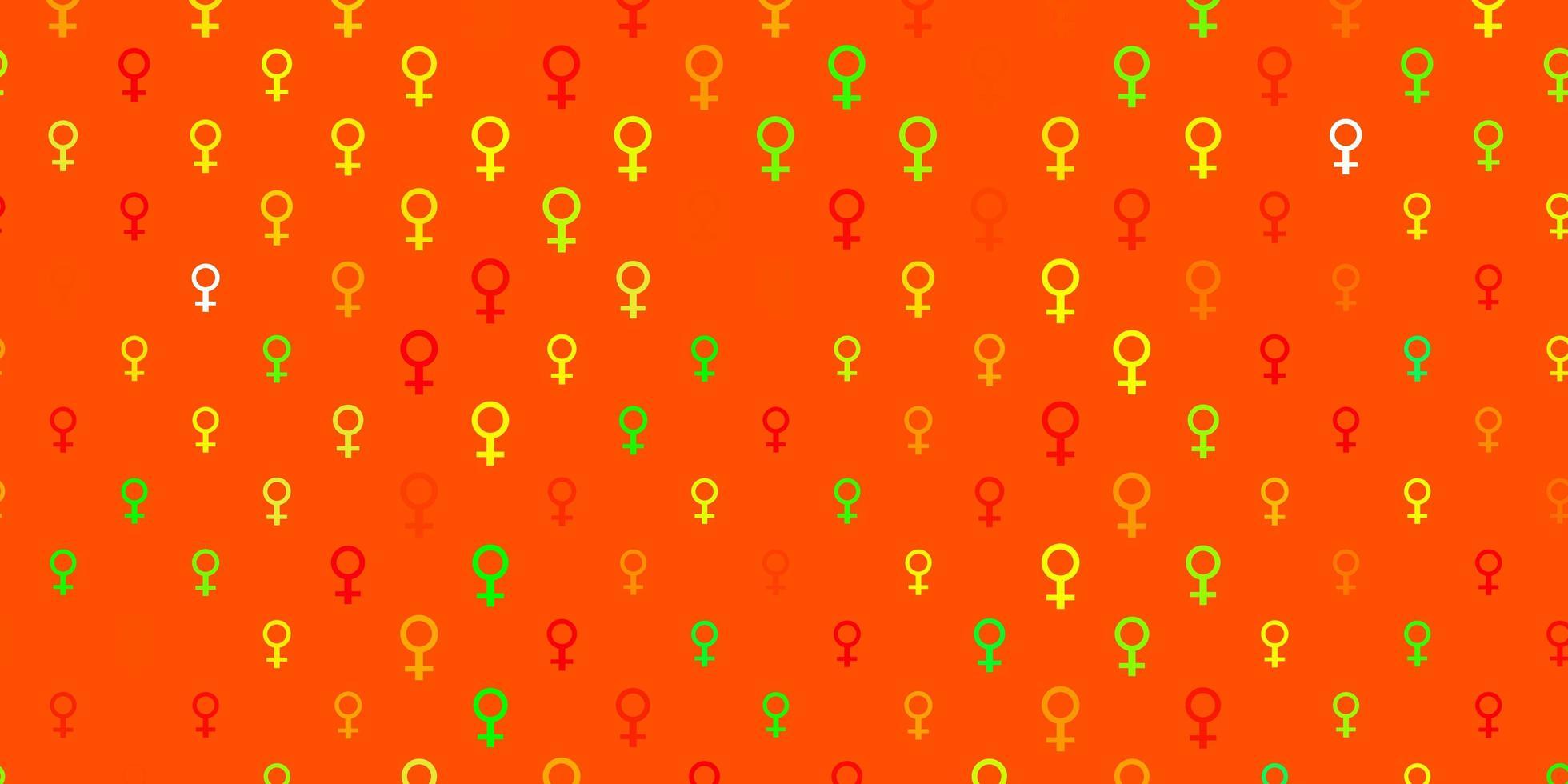 pano de fundo de vetor verde e vermelho claro com símbolos de poder feminino.