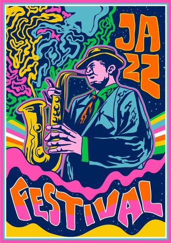 Cartaz de concertos psicodélicos Música de jazz vetor