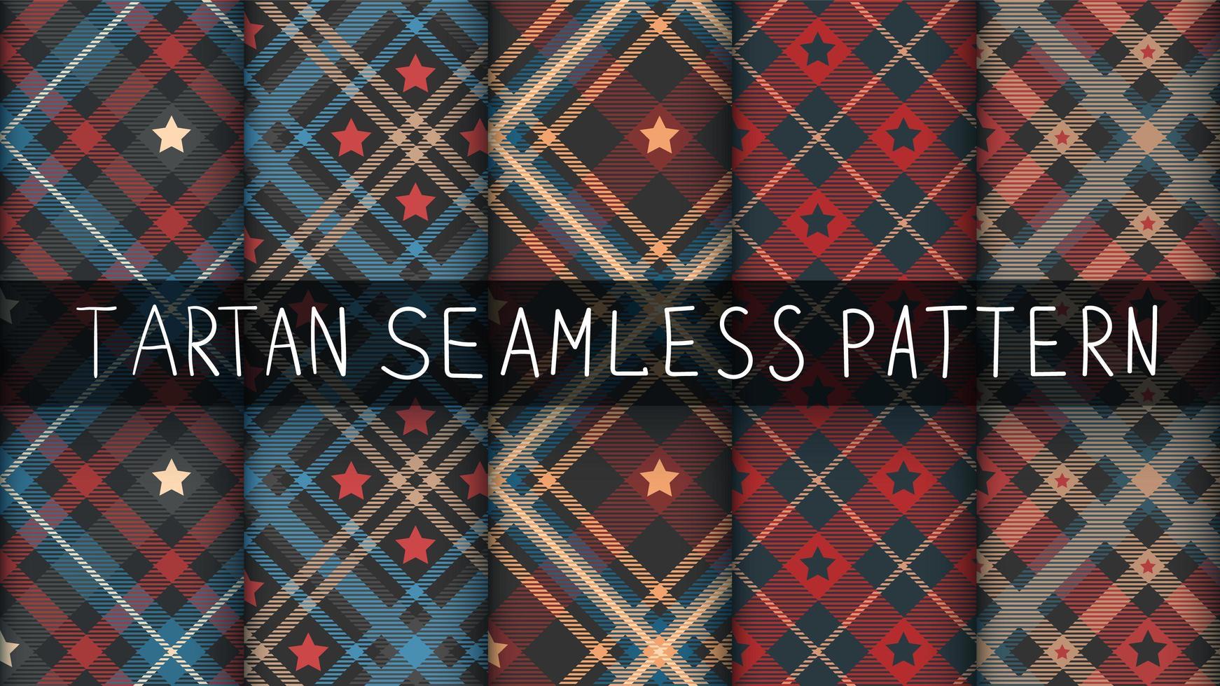 conjunto de fundo tartan star seamless pattern vetor