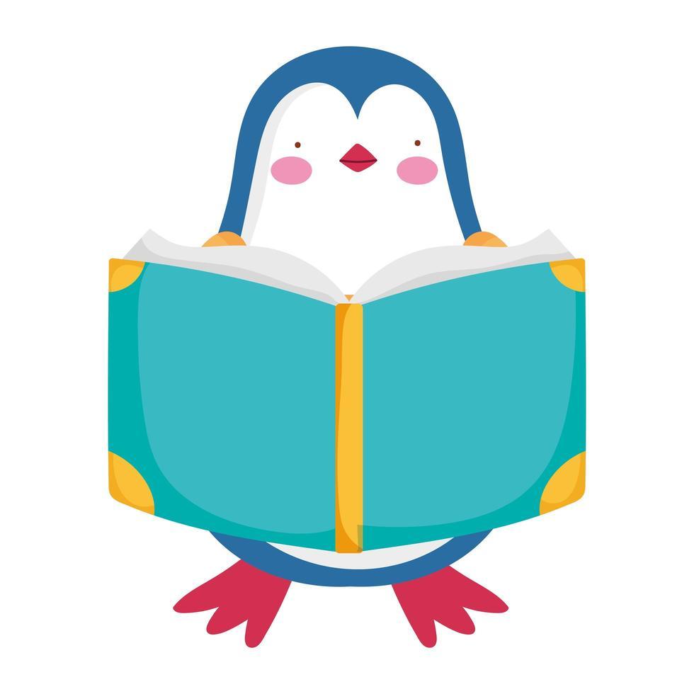 volta às aulas, desenho animado de estudo de livro de leitura de pinguins vetor