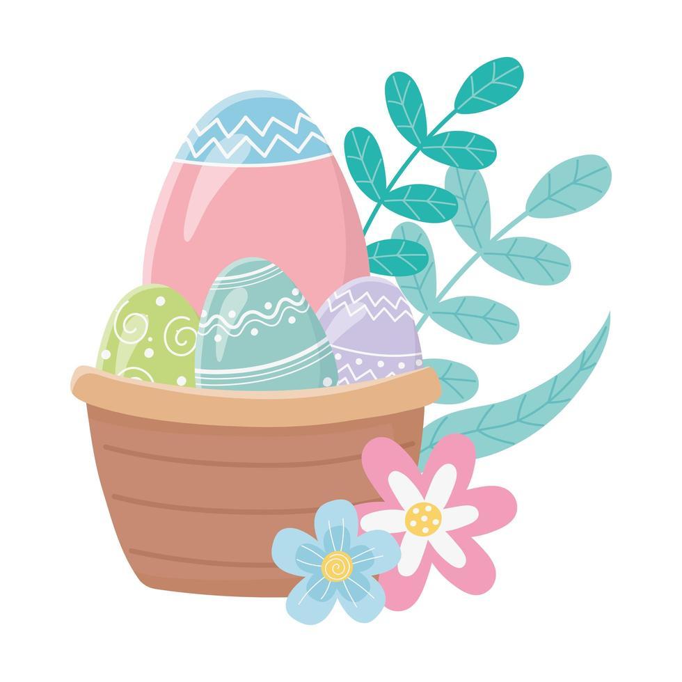 feliz dia de páscoa, cesta com ovos flores folhas decoração folhagem vetor
