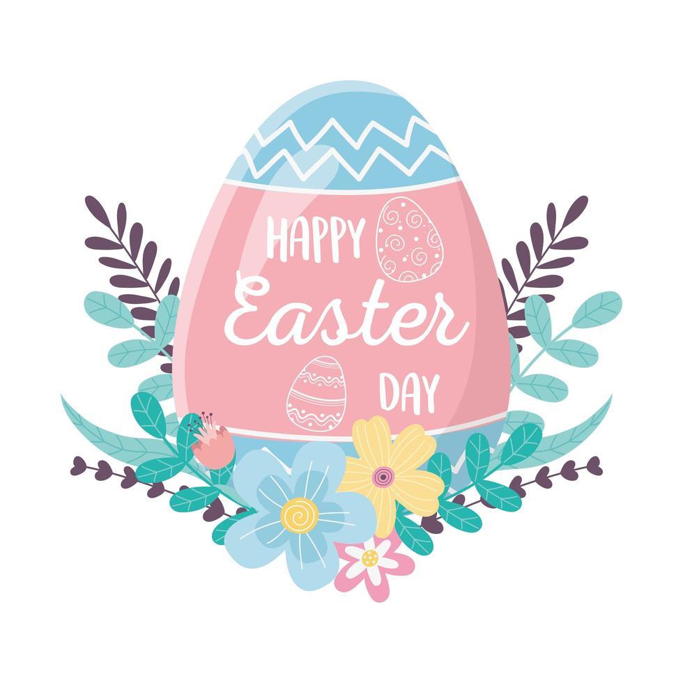 feliz dia de Páscoa, letras em folhagem de folhas de flores de decoração de ovo vetor
