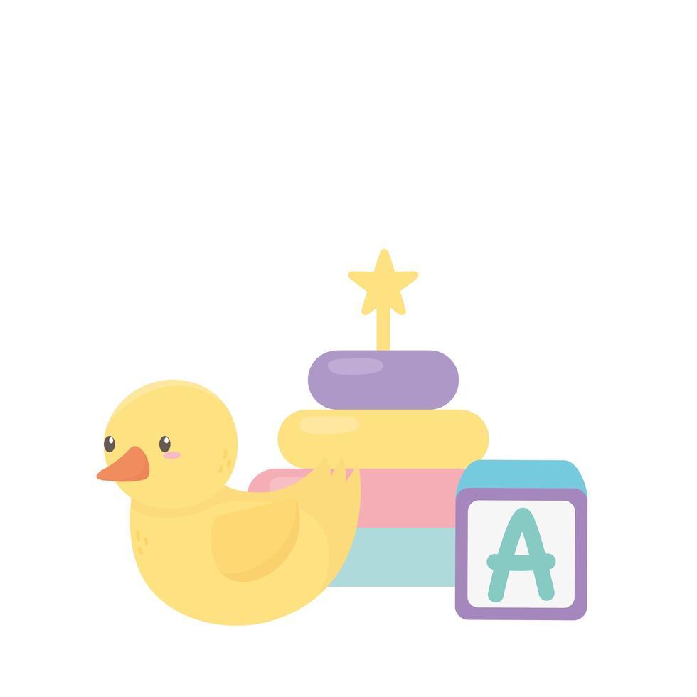 zona infantil, bloco de alfabeto pato e brinquedos de desenho animado da torre de empilhamento vetor