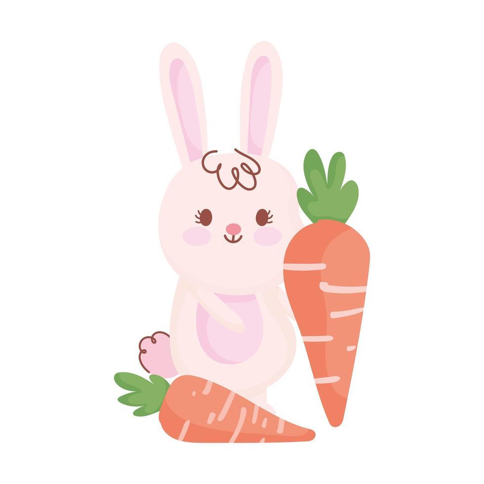 coelho de páscoa feliz com personagem de desenho animado de cenouras vetor