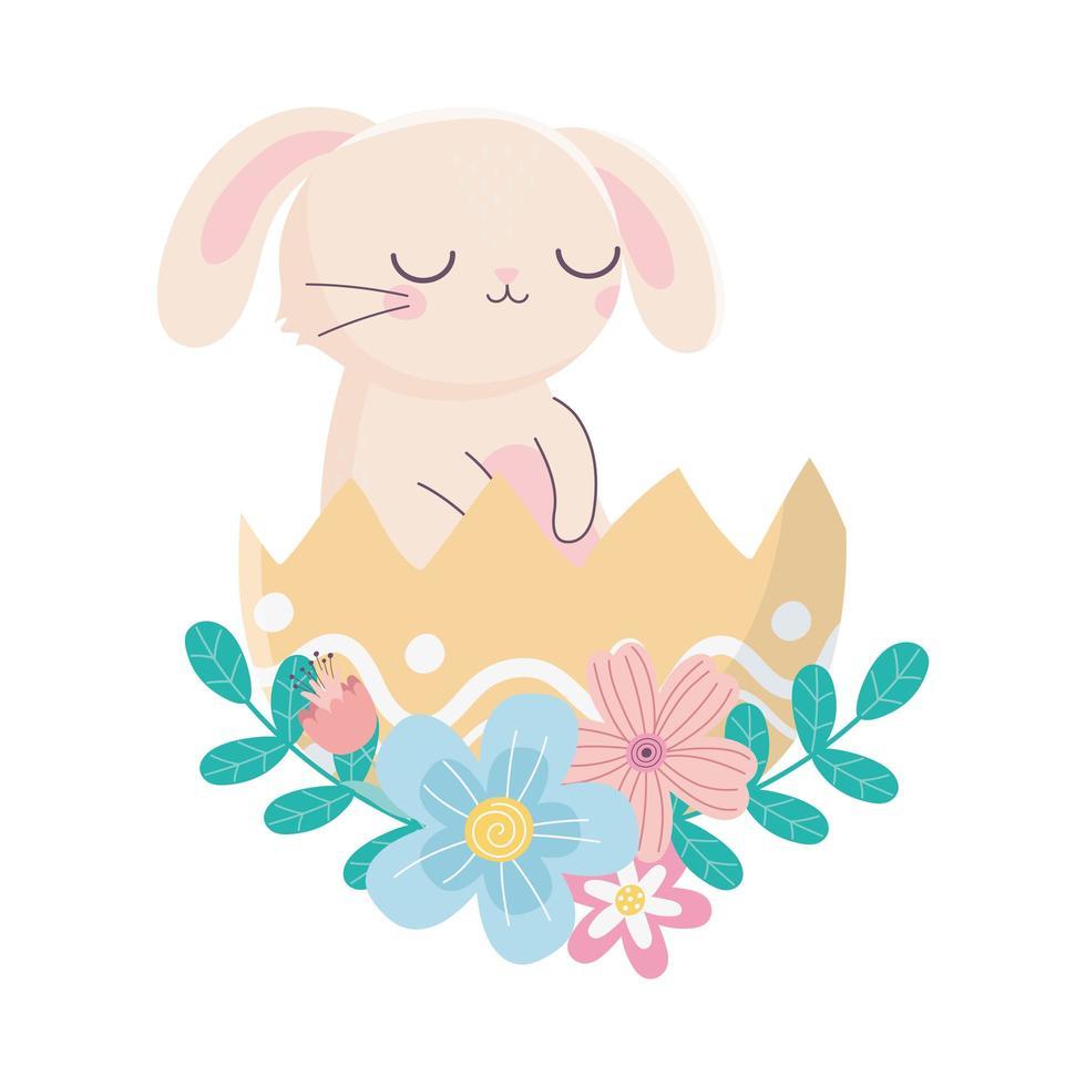 feliz dia de páscoa, coelho na folhagem de flores com casca de ovo vetor