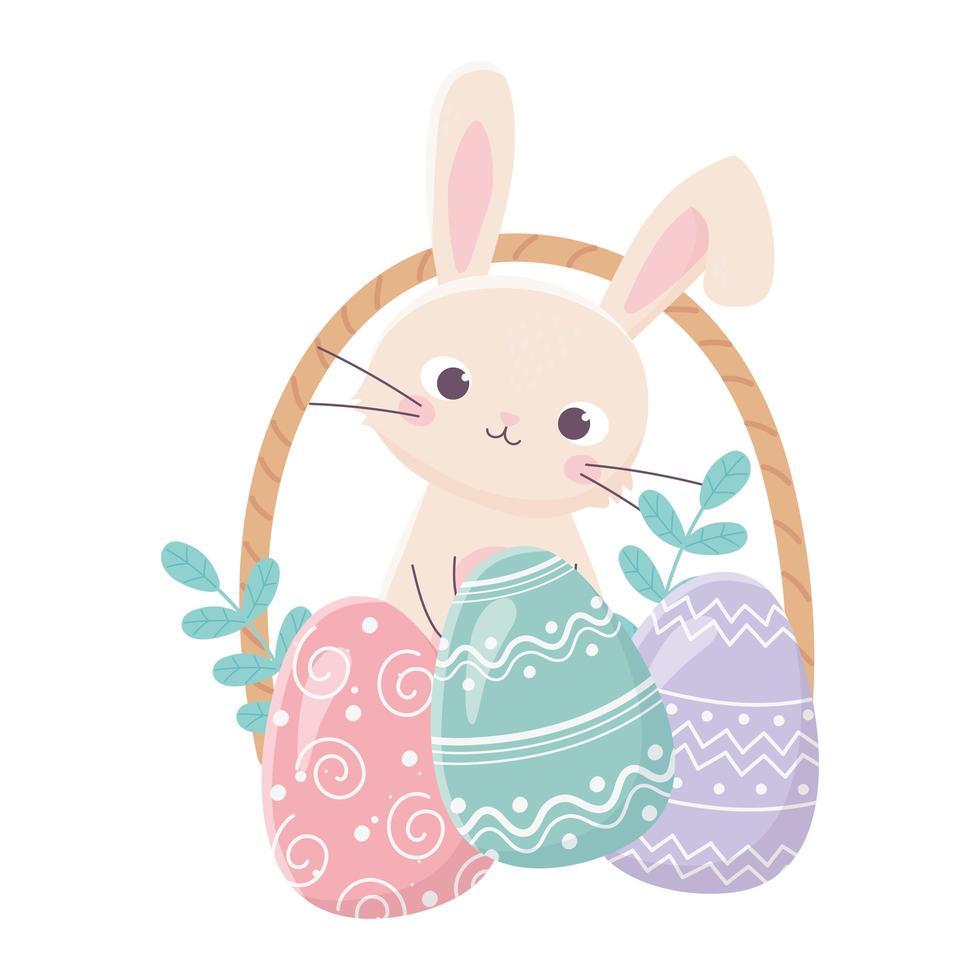 cesta de coelho feliz páscoa com folhas de ovos vetor