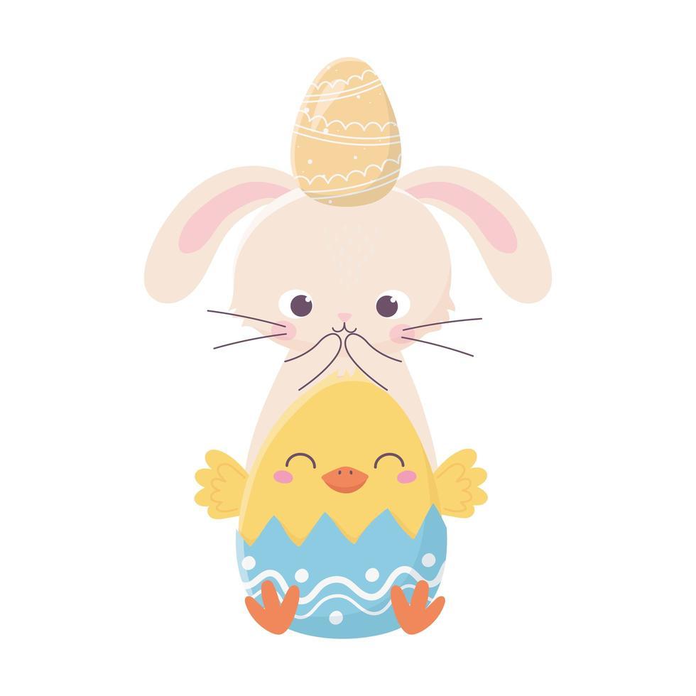 feliz dia de páscoa, coelho com ovo na cabeça e galinha na natureza de casca de ovo vetor