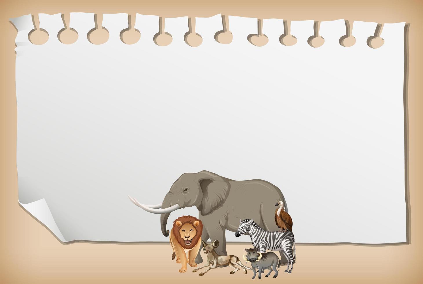 banner de papel vazio com animal africano selvagem vetor