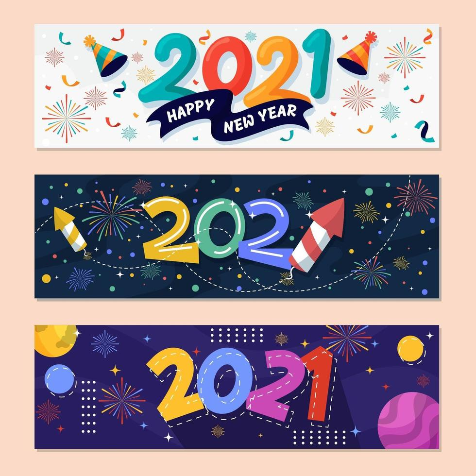 banner da festa de ano novo 2021 vetor