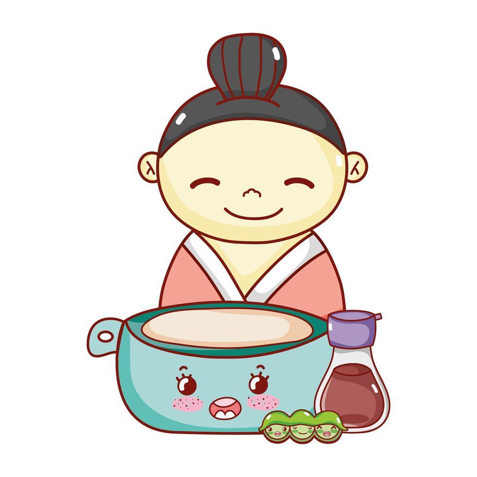 gueixa com tigela de saquê e ervilhas comida kawaii desenho animado japonês, sushi e pãezinhos vetor