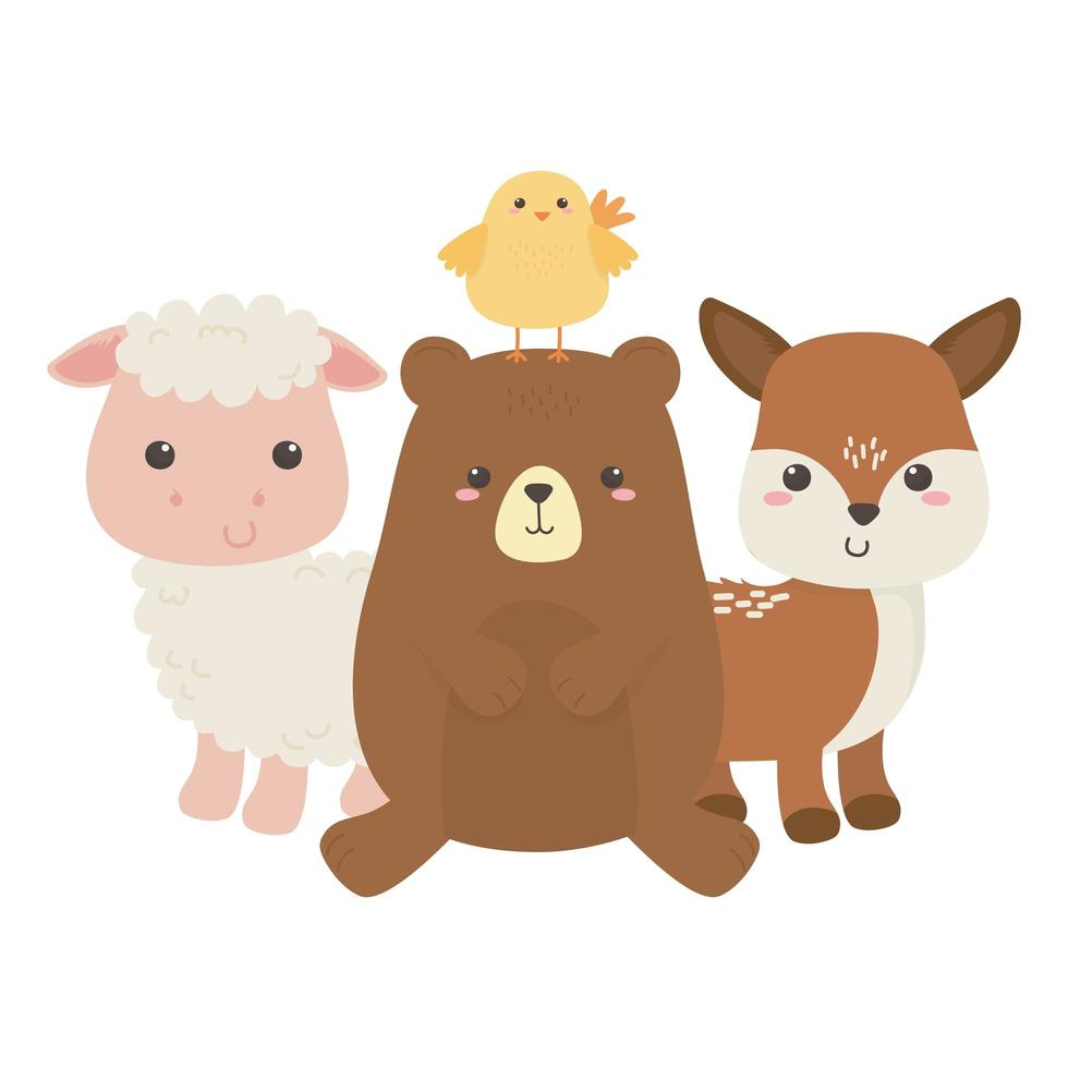 urso fofo galinha ovelha e cervo pequeno animal desenho isolado vetor