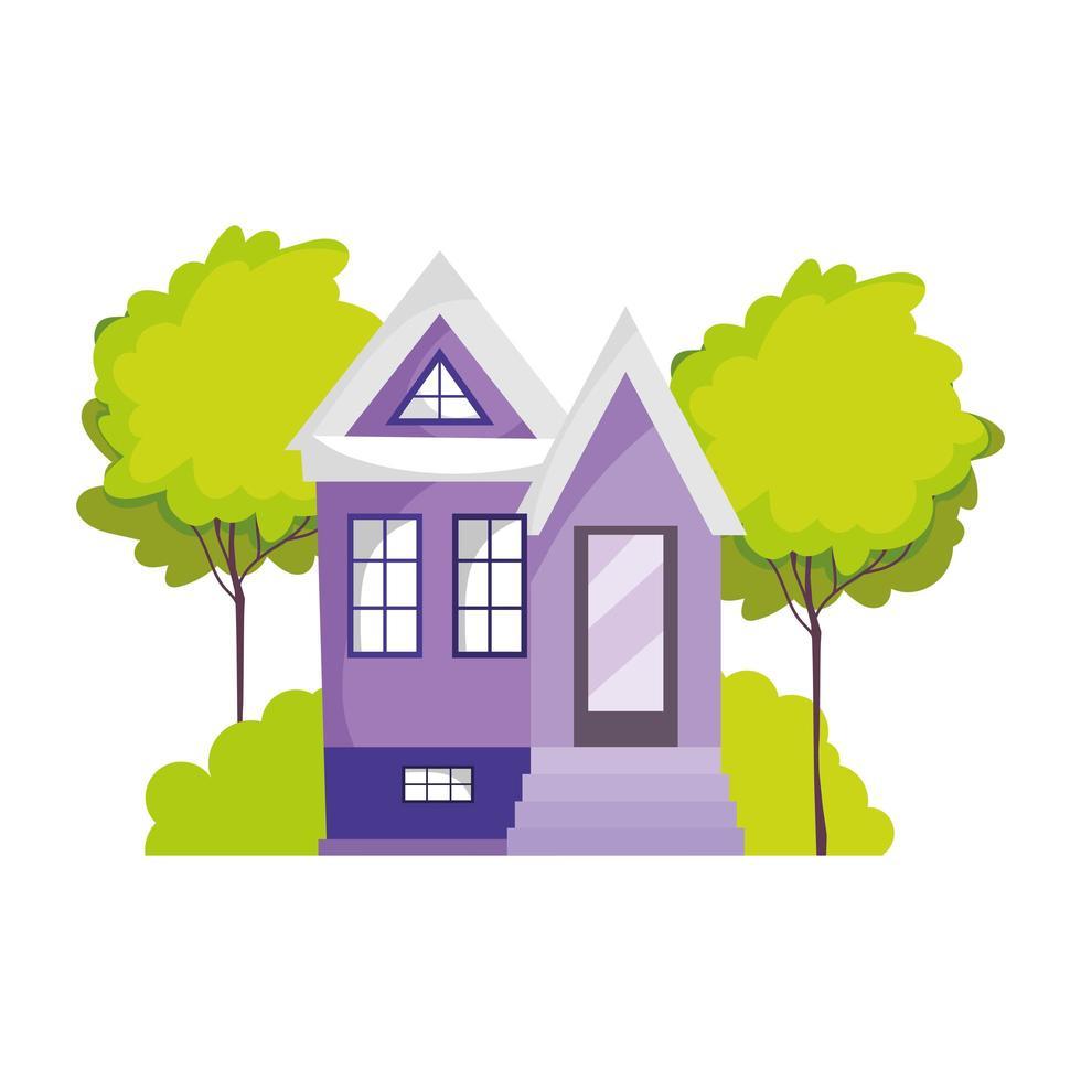 desenho animado da estrutura da casa jardim árvore cena botânica desenho animado vetor