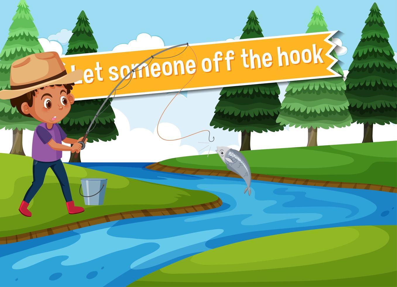 pôster idiomático com deixar alguém fora de perigo vetor