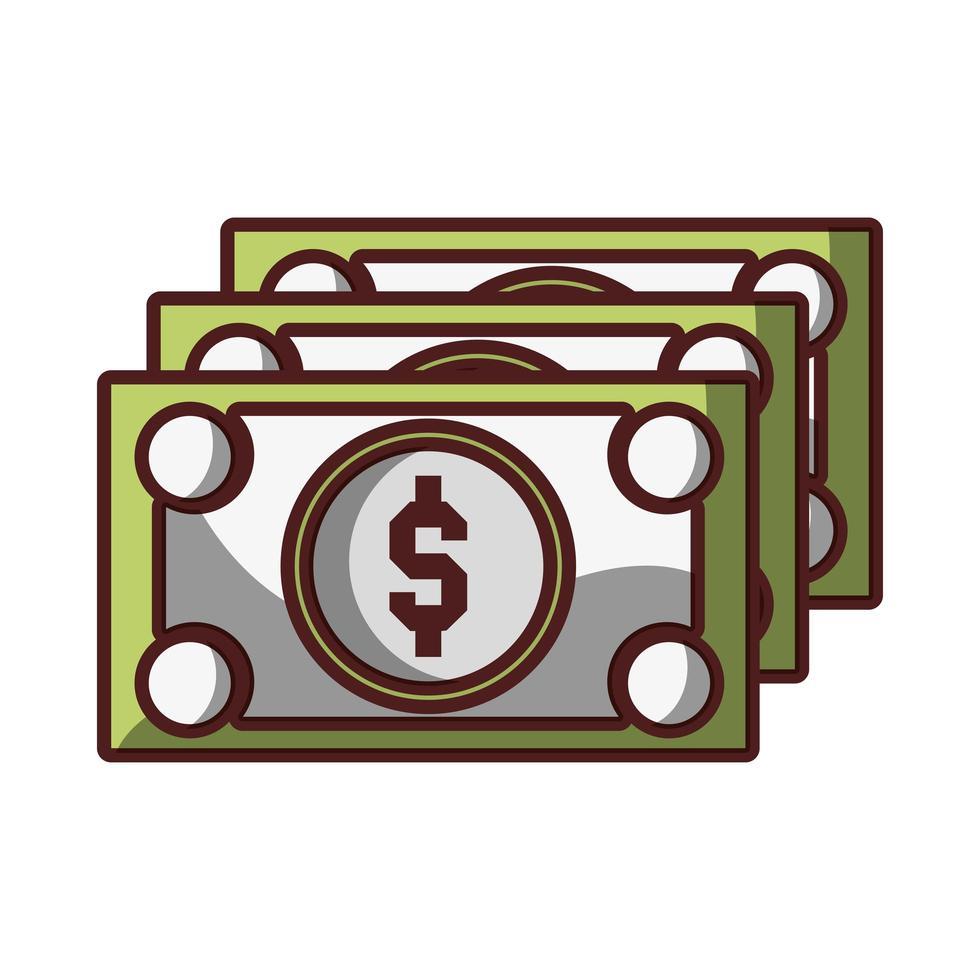 dinheiro, notas, dinheiro, moeda, ícone, isolado, desenho, sombra vetor
